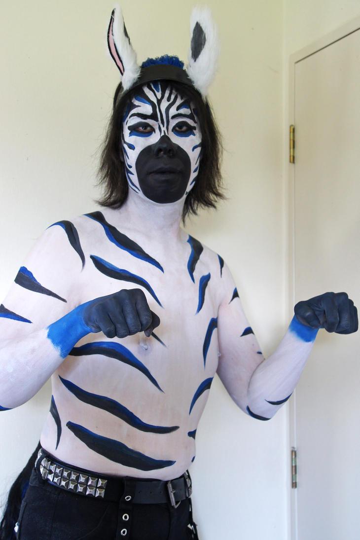 Body Paint White Cat Blue Hair