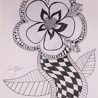 Zentangle Flower Doodle with Micron pen by Sarah-The-Lion-Wolf