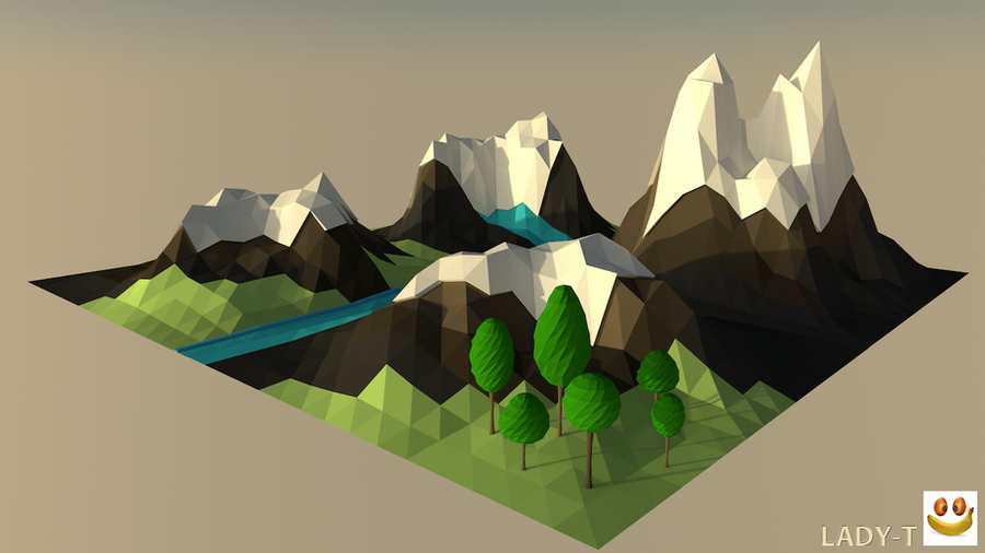 Mountains low poly c4d by lady taty on deviantart