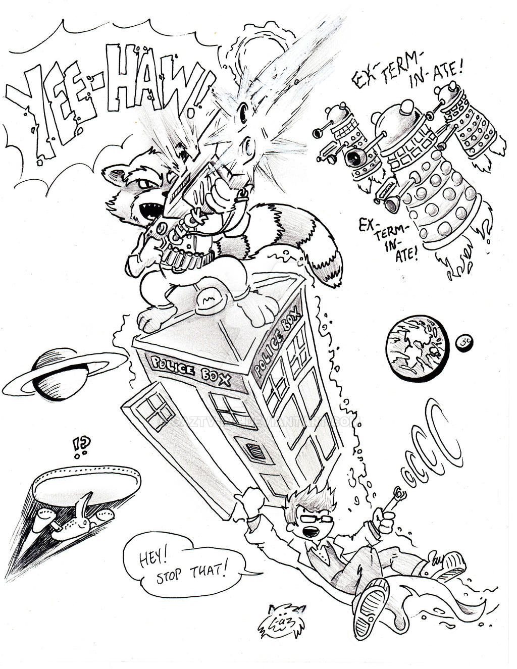 Rocket Raccoon Rides Tardis for Target Practice by GazTV-inc