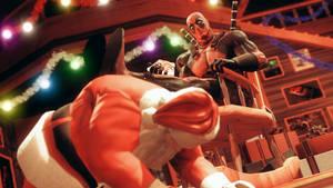Deadpool vs Santa by AngryRabbitGmoD