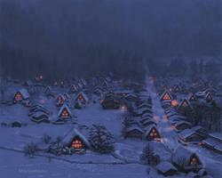 Winter dusk lights