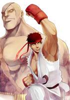 Ryu and Sagat by frankhorlw