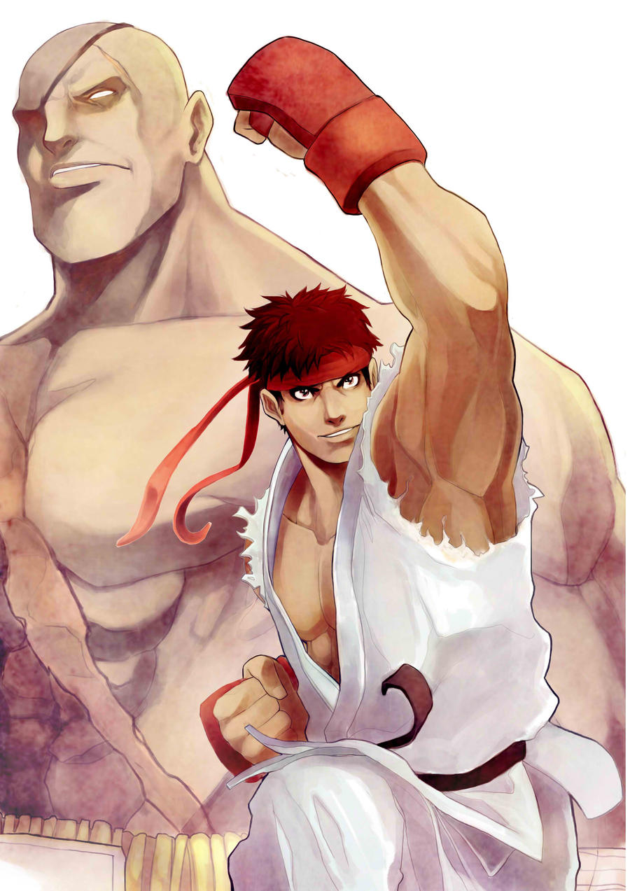 Ryu and Sagat by frankhorlw