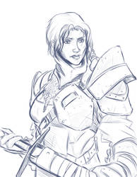 [Sketch] For Honor's female warden (no color) by AlexZebol