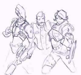 [Sketch] Zer0, Rhys and Athena by AlexZebol