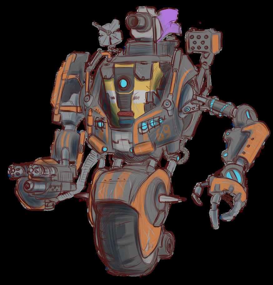 [Sketch] CL4P-TP in his own mech by AlexZebol