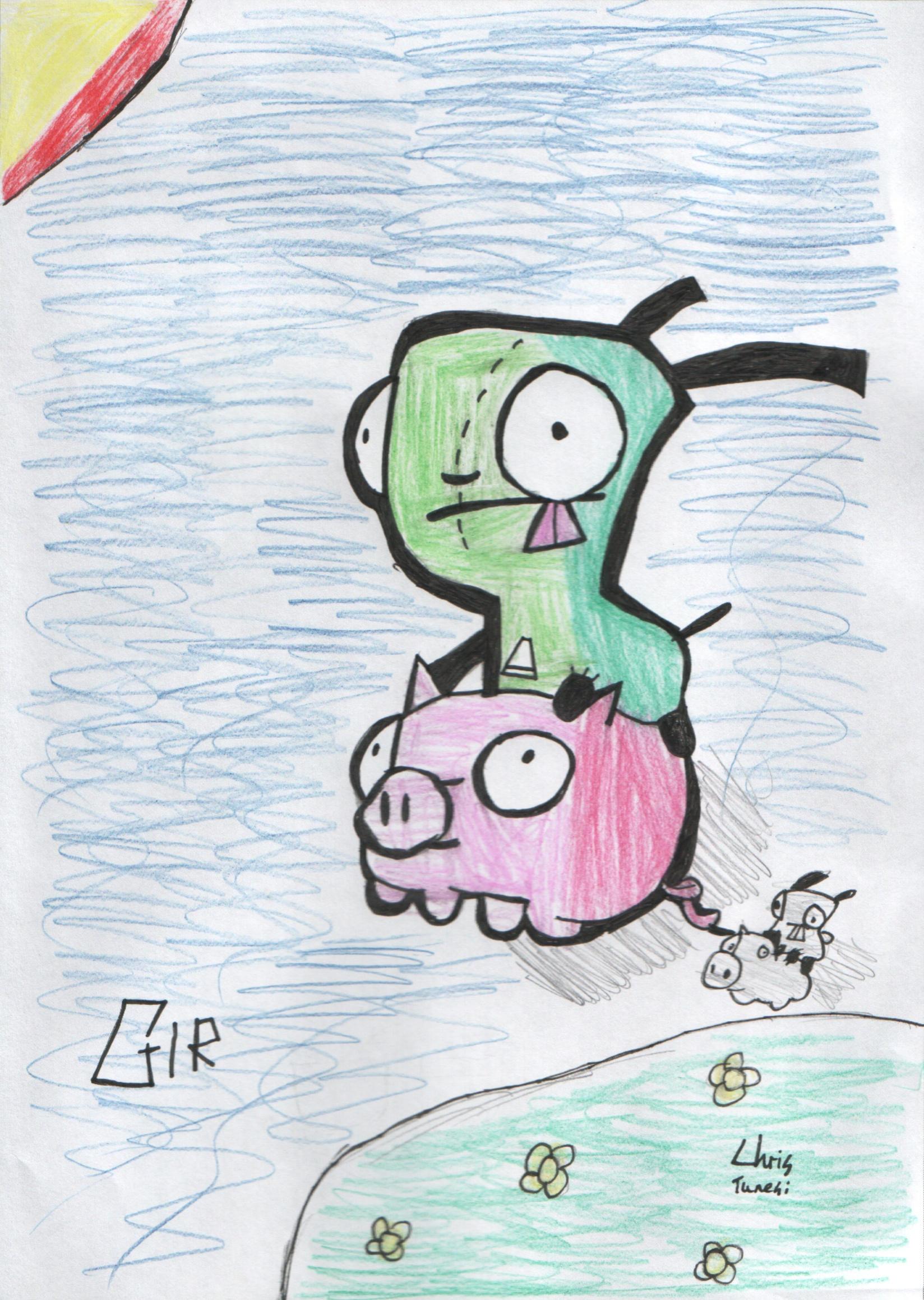 Gir riding piggie by davybackfight