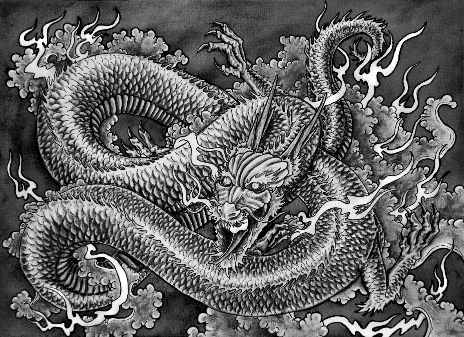Japanese dragon by muppza on deviantart for Japanese dragon painting