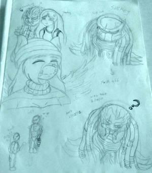 Doodles with mothra myself and my new oc predator