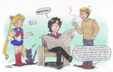 Sailor Moon seeks Sherlock for help by roryalice