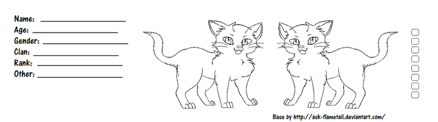 Blank Warrior Cats Reference Sheet By Ask FlameTail ...  Blank Reference Sheet