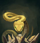 Golden snake protecting his egg
