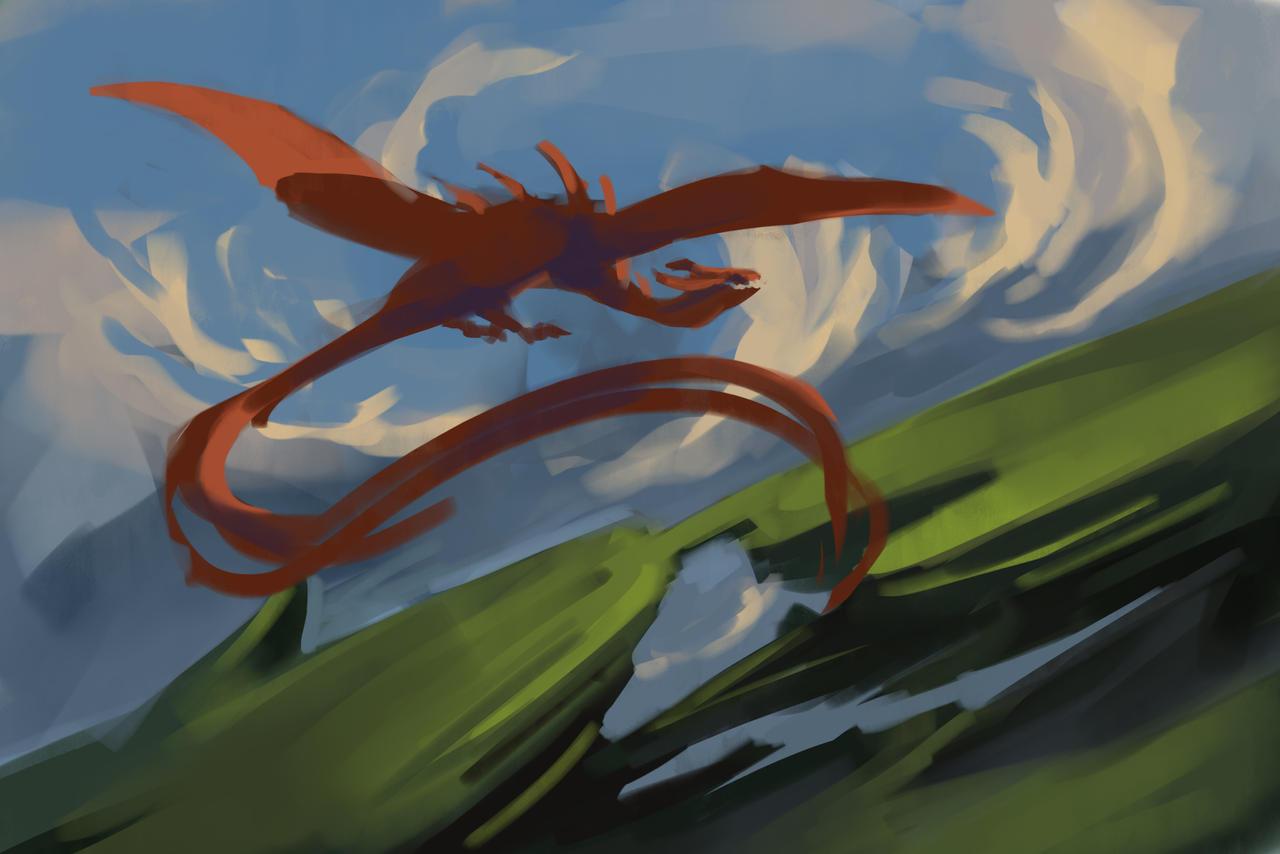 Sketch of red wyvern