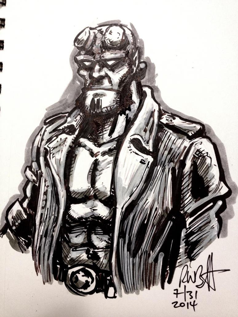 Hellboy Quick Marker Sketch #2 by BigGuido