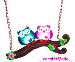 Sweet owls fimo necklace by cernittando