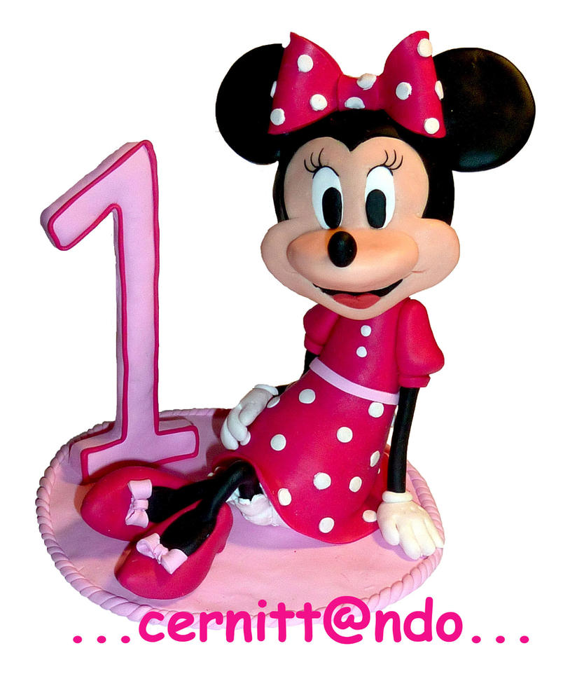 Minnie fan art - polymer clay birthday cake topper by cernittando