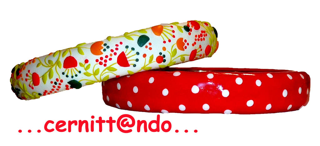 Flowers and polka dots polymer clay bangles red by cernittando