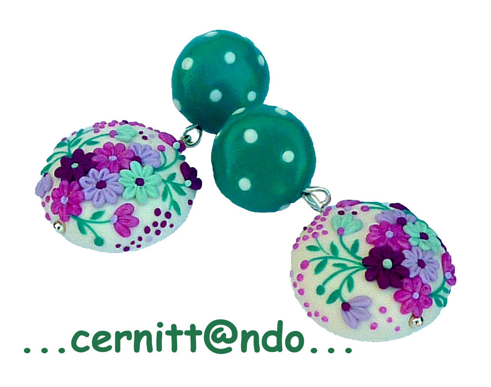 Flowers and polka dots polymer clay earrings by cernittando