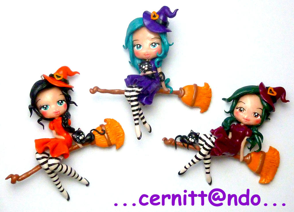 Polymer clay witches by cernittando