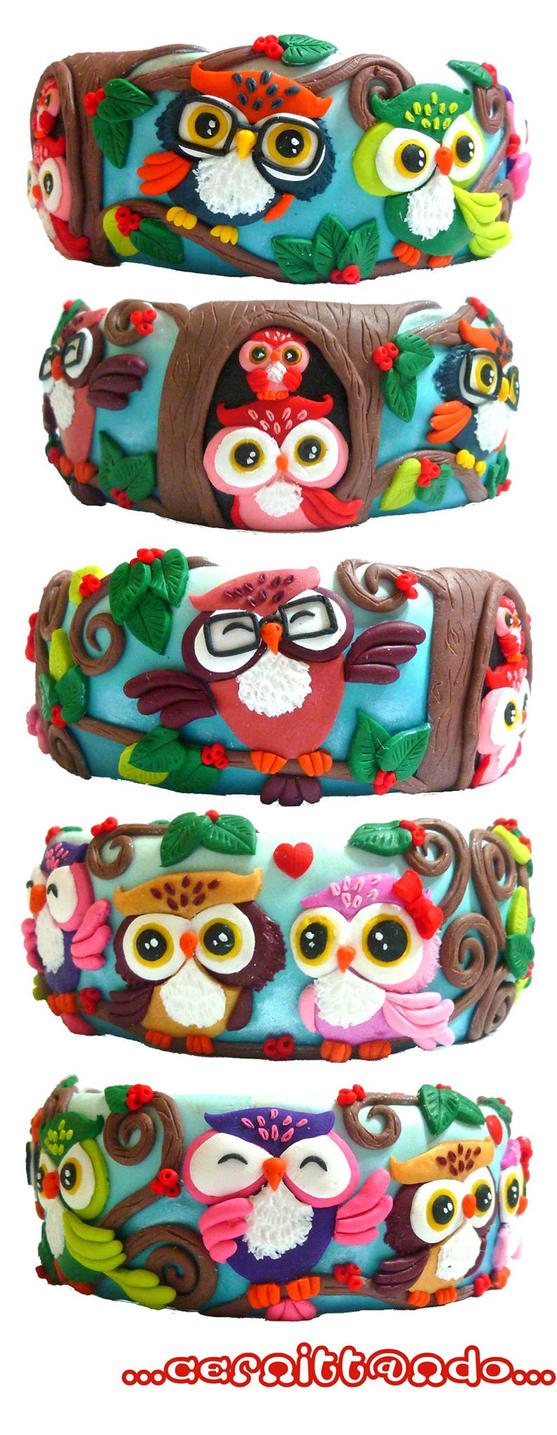 owls polymer clay bangle by cernittando