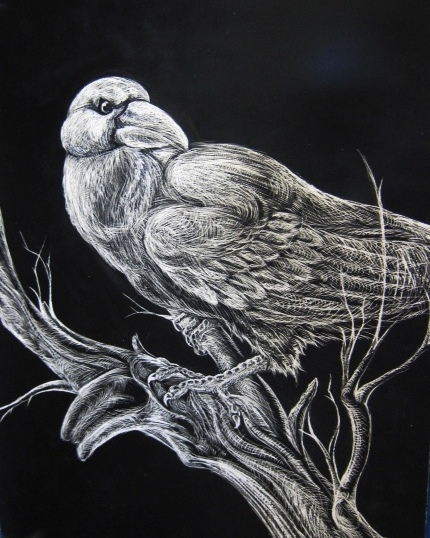 Scratch-Board Raven by WforWumbo