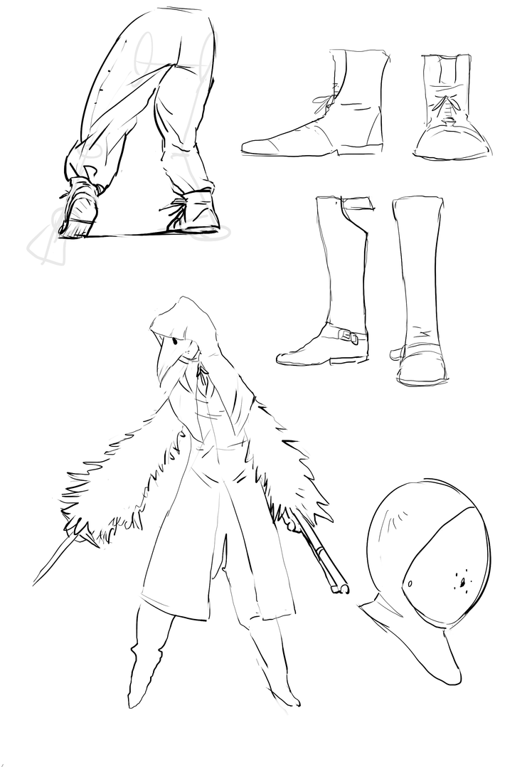 Doodles-my own version of the crow from bloodborne by Ninemeaw