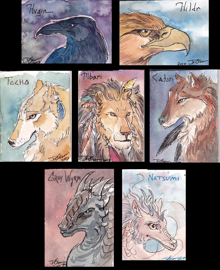 Patreon Trading Cards: Non Gryfons! by ElementalJess