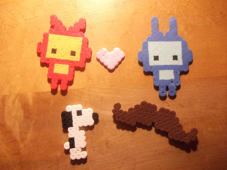 Perler Bead - Robot Love, Snoopy and Moustache by hyper-evil-aly39