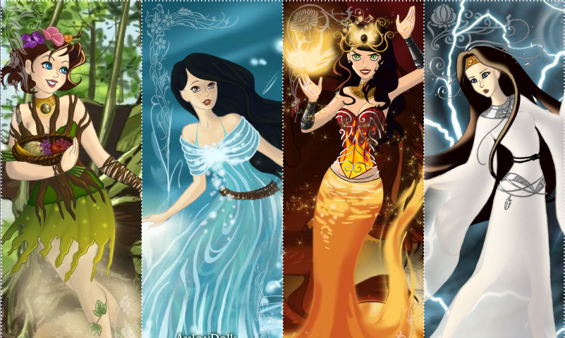 The Tintin Adventures girls - the four elements by evenstar29