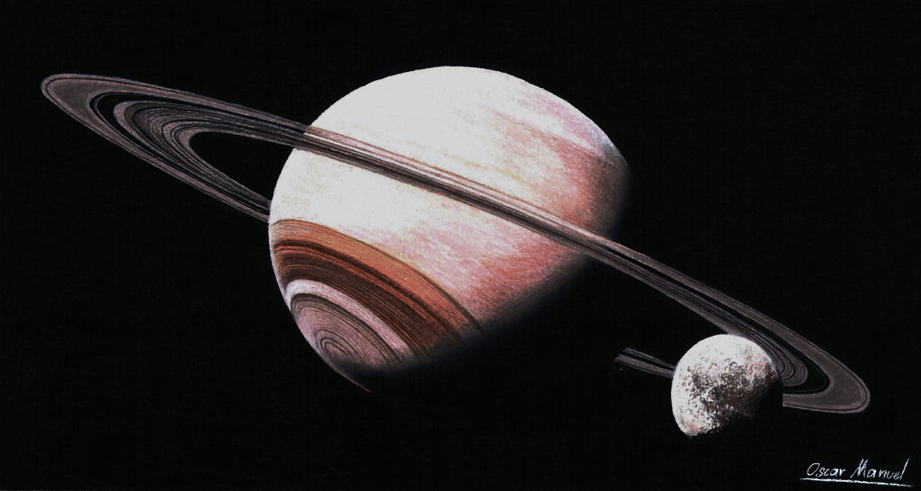Saturn (Colored pencil drawing) by Oscar-Manuel