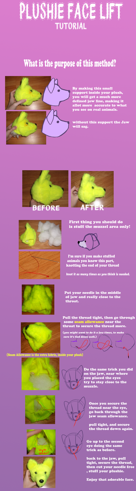 Plushie face lift tutorial by VengefulSpirits