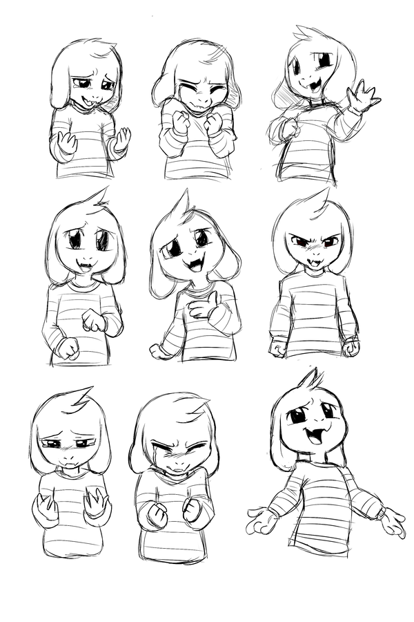 Asriel 39 s expression sheet undertale spoiler by skeleion for Undertale coloring pages