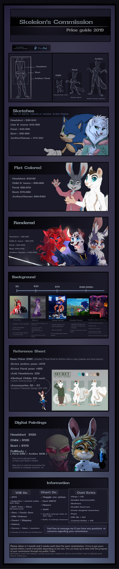 Commission Price Guide 2019