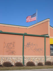 Graffiti and flag