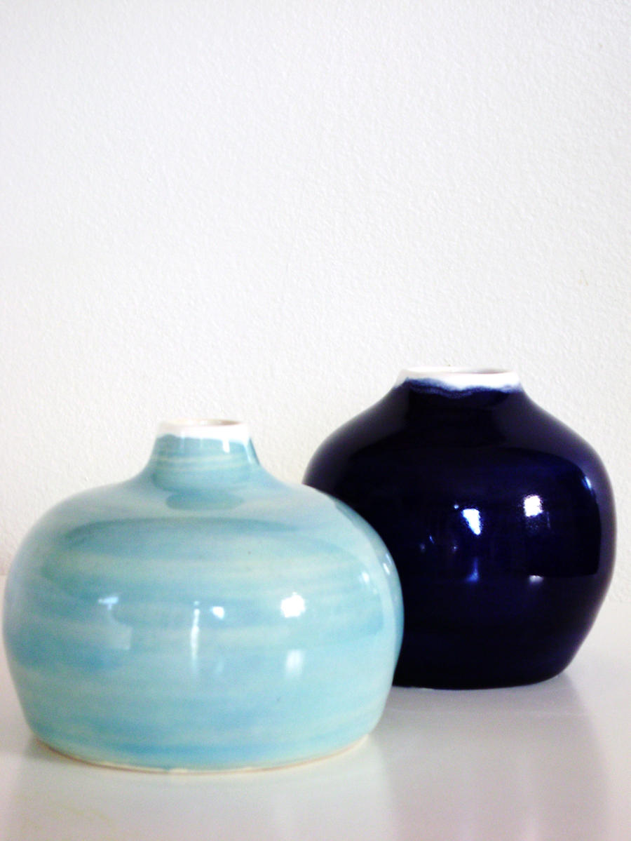 Blue Bud vases by lizetpottery