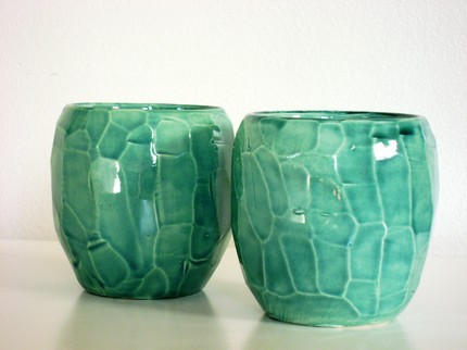Faceted Rock Turquoise cups