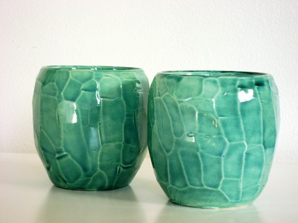 Faceted Rock Turquoise cups by lizetpottery