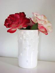 white bumpy vase