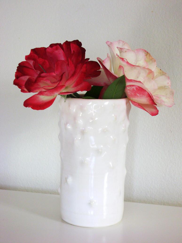 white bumpy vase by lizetpottery