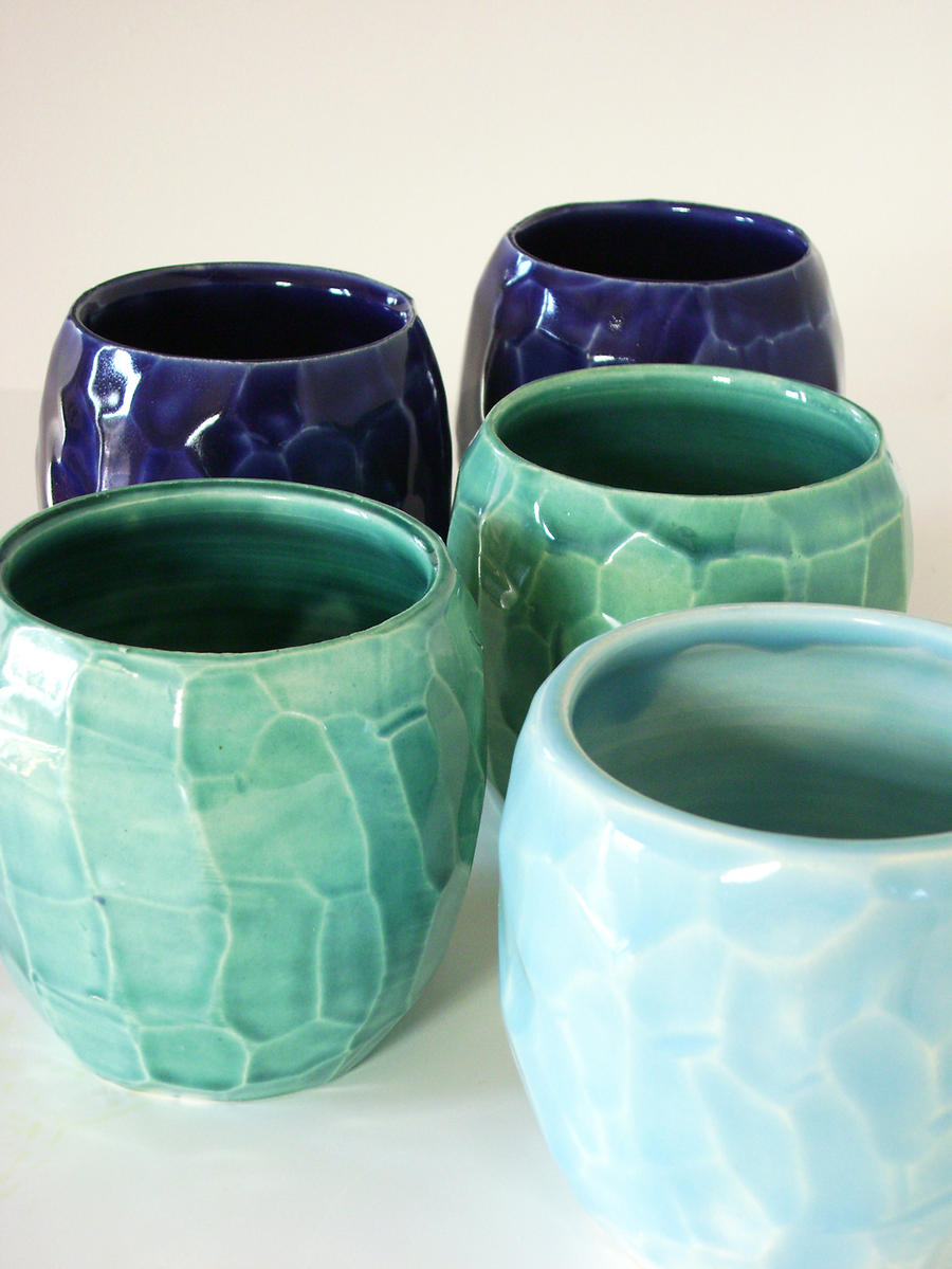 Blue cups by lizetpottery