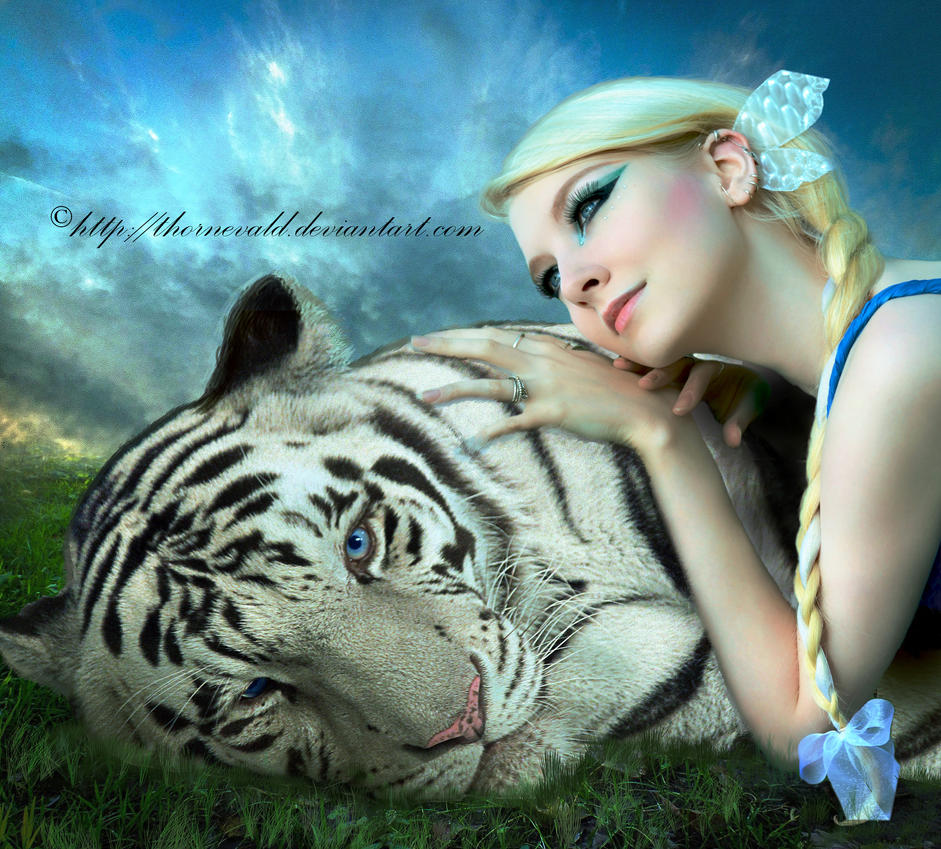 White tiger and the woman by thornevald on DeviantArt