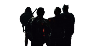 Justice League From Behind Transparent Shot