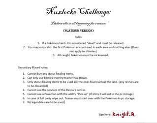 Pokemon Hard mode NC Platinum rules. by knightr33