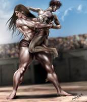 Bearhug_Atalanta wrestling Peleus by bodyscissorfan
