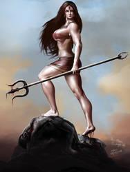 Devi Durga, the Destroyer of Evil by bodyscissorfan