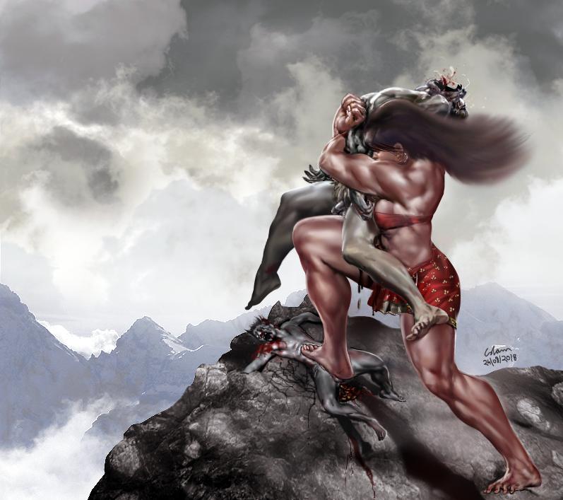 Devi slaying demon brothers Utpal and Vidal by bodyscissorfan
