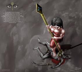 Goddess Durga Mata destroying demon Mahahanu by bodyscissorfan