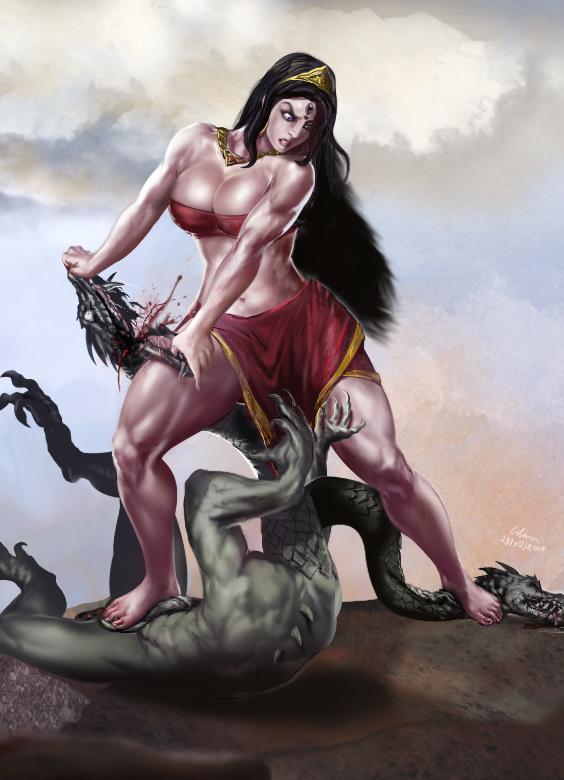 Commission_Goddess Aindri slaying Vritrasur by bodyscissorfan