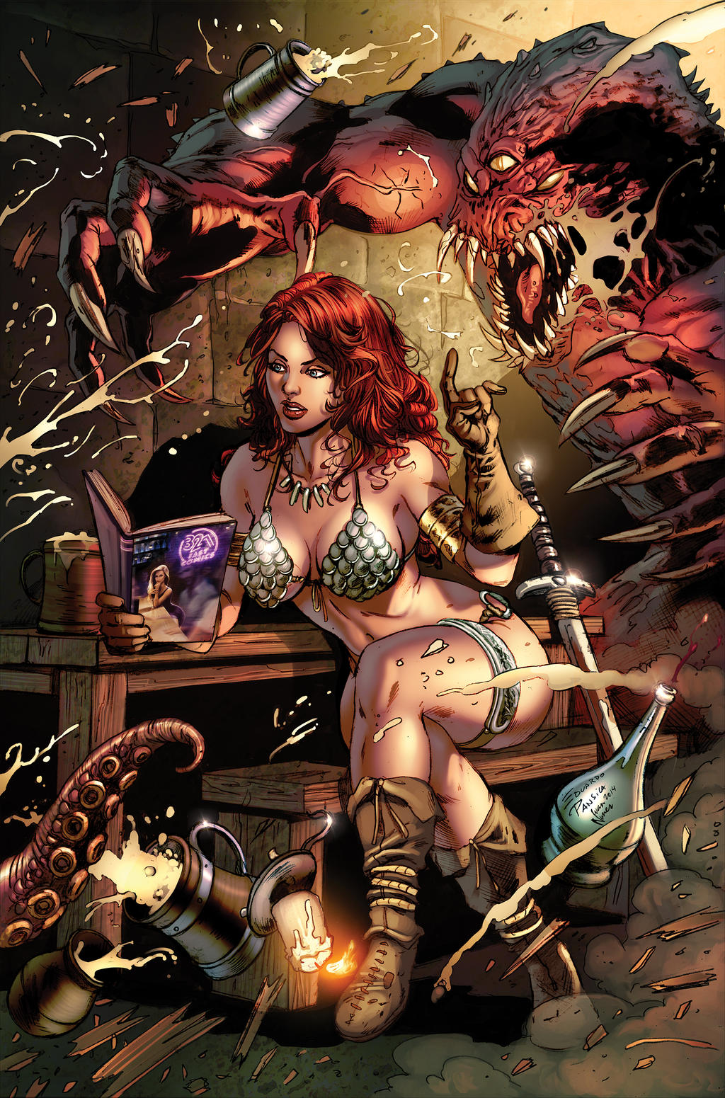 321: Fast Comics Promo Art with Red Sonja by FelipeCagno